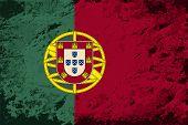 Portuguese flag. Grunge background. Vector illustration