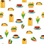 image of mexican fiesta  - Seamless backgound with cartoon mexican food for your design - JPG