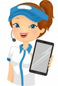 stock photo of clip-art staff  - Illustration of a Female Fast Food Attendant Holding a Computer Tablet - JPG