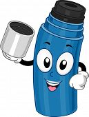 Mascot Illustration Featuring a Thermos Holding a Cup
