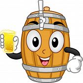 Mascot Illustration of a Beer Keg Holding a Glass of Beer