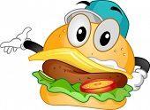 Mascot Illustration of a Cheeseburger Doing a Hand Gesture