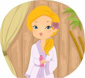 Illustration of a Girl in a Spa Wearing a Standard Bathrobe and a Piece of Flower on Her Ear