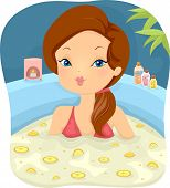 Illustration of a Girl in a Spa Soaking in a Bath Filled With Lemon Slices