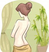 Rear View Illustration of a Half-Naked Woman in a Spa