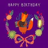 Cute Childish Card With Fox In Vector. Happy Birthday Invitation Background In Bright Colors