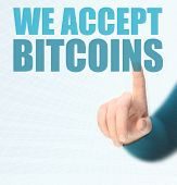 foto of bitcoin  - WE ARE ACCEPTING BITCOINS conept for business with bitcoins - JPG