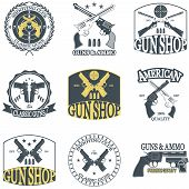 picture of crossed pistols  - Classic Guns emblem with pistols vector illustration - JPG
