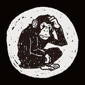 image of orangutan  - Orangutan Monkey Doodle - JPG
