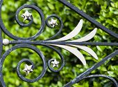 stock photo of wrought iron  - An elaborate wrought iron design on a fence in Charleston - JPG
