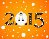 image of sheep  - Christmas background with the numbers 2015 and a sheep - JPG