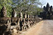 picture of rebuilt  - Gate of the largest city capital named Angkor Thom - JPG