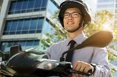 pic of commutator  - Young asian businessman commuting to job in the morning - JPG