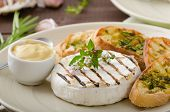 image of baguette  - Grilled camembert with Dijon mustard and herbs baguettes