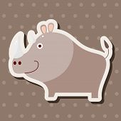 foto of rhino  - Animal Rhino Cartoon Theme Elements - JPG