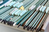 foto of file folders  - Close up File folders in a filing cabinet - JPG