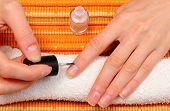 foto of nails  - Pink nail polish applied to the nail of hand manicure process nail care - JPG
