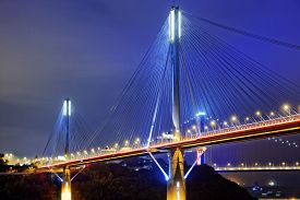 picture of hong kong bridge  - Ting Kau bridge at night - JPG