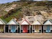foto of beach hut  - Beach huts at a seaside town in Bournemouth UK - JPG