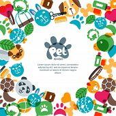 Pet Shop, Zoo Or Veterinary Square Banner, Poster Or Flyer Design Template. poster