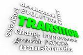 Transition Change Evolution Process Word Collage 3d Illustration poster