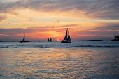 Sunset With Sail Boats