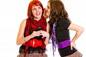 Girl whispering gossips in ear her interested girlfriend isolated on white