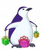 Pingüino con cajas de regalo