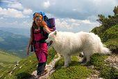 Backpacker Girl With Samoyed Dog