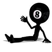 funny cartoon guy that looks like a billard ball