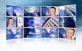 Beautiful business photos in monitors on modern business background