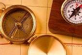 Old Style Brass Compasses poster