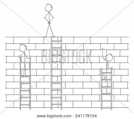 poster of Cartoon Stick Man Drawing Conceptual Illustration Of Businessman Beating Or Defeating Competitors By