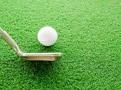 Golf Ball And Iron Golf Club In Driving Range With Copy Space poster