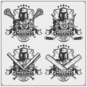 Cricket, Baseball, Lacrosse And Hockey Badges And Labels. Sport Club Emblems With Crusader. poster