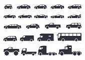 Car Type Icons Set. Vector Black Illustration Isolated On White Background With Shadow. Variants Of  poster