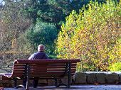 Old Retired Man In A Bench