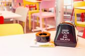 Ice Cream Parlor Restaurant Table With Napkin Holder Advertising keep Calm And Eat Gelato poster