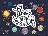 Never Stop Dreaming. Handdrawn Vector Lettering Quote With Galaxy Illustrations. poster