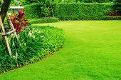 Landscaped Formal Garden, Front Yard With Garden Design, Peaceful Garden, Background Design poster