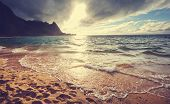 Beautiful scene in Tunnels Beach on the Island of Kauai, Hawaii, USA poster