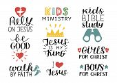 Set Of 9 Hand Lettering Christian Quotes Jesus Is My King, Rely, Kids Bible Study, Be Good, Girls, B poster