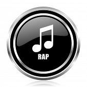 Rap music black silver metallic chrome border glossy round web icon poster