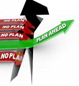 Words Plan Ahead rising an upward arrow over a problem while  other arrows marked No Plan fall into