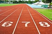 picture of 8-track  - Number Six  Seven And Eight On The Start Of A Running Track - JPG