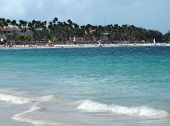 stock photo of greater antilles  - beach scenery at the Dominican Republic a island of Hispanola wich is a part of the Greater Antilles archipelago in the Carribean region - JPG