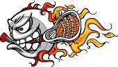 Lacrosse bola flamejante Face Vector imagem