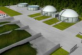 stock photo of biogas  - Biogas plant from aerial perspective - JPG