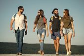 Wanderlust, Vacation, Travel, Hiking. Men And Women Travel On Summer Vacation. Happy Friends On Blue poster