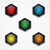 Design Vector Hexagon Button For Web Button Icon. Web Shiny Buttons. Vector Illustration Eps.8 Eps.1 poster